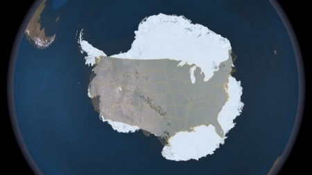 Antarctica compared to the USA