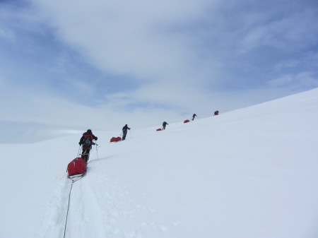 The BSAE team on the Antarctic Peninsula. The badges were mounted on one of the sledges. Photo taken by Martin Densham.